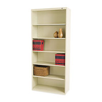 Tennsco B78PY Putty 6 Shelf Metal Bookcase - 34 1/2 inch x 13 1/2 inch x 78 inch