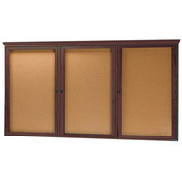 Aarco WBC3672RC 36 inch x 72 inch Enclosed Hinged Locking 3 Door Bulletin Board with Walnut Finish and Crown Molding