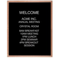 Aarco AOFD4836 48 inch x 36 inch Black Felt Open Face Vertical Indoor Message Board with Oak Wood Frame and 3/4 inch Letters