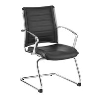Eurotech LE833-BLACK Europa Leather Series Black Leather Guest Chair