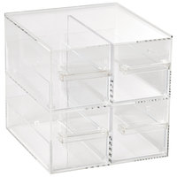 Vollrath SBB2X2 Cubic Four Drawer Clear Acrylic Bread Box with Reusable Chalkboard Labels and Chalk