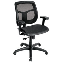 Eurotech MMT9300-PM01 Apollo Series Black Mid Back Multi-Function Swivel Office Chair