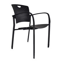 Eurotech STAQGLIDEBLK Staq Series Black Plastic Chair with Glides