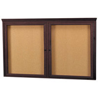 Aarco WBC3660RC 36 inch x 60 inch Enclosed Hinged Locking 2 Door Bulletin Board with Walnut Finish and Crown Molding