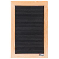 Aarco AOFD1812 18 inch x 12 inch Black Felt Open Face Vertical Indoor Message Board with Oak Wood Frame and 3/4 inch Letters