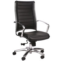 Eurotech LE811BLK Europa Leather Series Black Leather High Back Swivel Office Chair