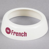Tablecraft CM22 Imprinted White Plastic Lite French Salad Dressing Dispenser Collar with Maroon Lettering