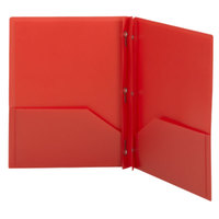 Smead 87727 Letter Size 2-Pocket Poly Pocket Folder - Tang Fasteners, Red - 25/Box