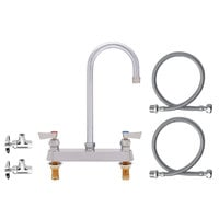 Fisher 81124 Deck Mounted Faucet with 8 inch Centers, 12 inch Swivel Gooseneck Nozzle, 2.2 GPM Aerator, Lever Handles, Angle Stops, and Supply Lines