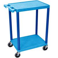 Luxor BUSTC22BU Blue 2 Flat Shelf Utility Cart - 24 inch x 18 inch
