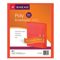 Smead 89527 Letter Size Side Load Poly Envelope - 1 1/4 inch Expansion with String Tie Closure, Red - 5/Pack