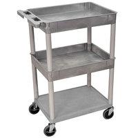 Luxor STC112-G Gray 2 Tub and 1 Bottom Flat Shelf Utility Cart - 24 inch x 18 inch