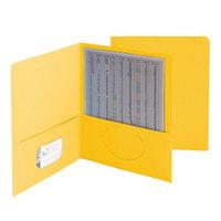 Smead 87862 Letter Size Heavyweight Textured 2-Pocket Paper Pocket Folder, Yellow - 25/Box