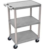 Luxor STC222-G Gray 3 Flat Shelf Utility Cart - 24 inch x 18 inch