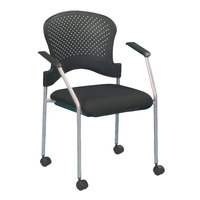 Eurotech FS8270 Breeze Series Black Fabric and Plastic Office Side Chair with Grey Frame and Casters
