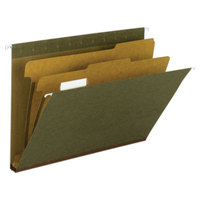 Smead 65110 8 1/2 inch x 11 inch Standard Green 1/5 Tab 2 inch Expansion Hanging File Folder with 2 Dividers - Letter - 10/Box