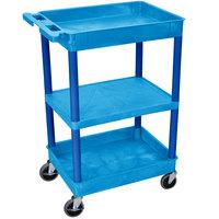 Luxor BUSTC121BU Blue 2 Tub and 1 Flat Shelf Utility Cart - 24 inch x 18 inch