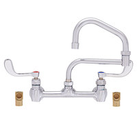 Fisher 55700 Backsplash Mounted Faucet with 8 inch Centers, 19 inch Double-Jointed Swing Nozzle, 2.20 GPM Aerator, Wrist Handles, and Elbows