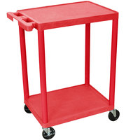 Luxor RDSTC22RD Red 2 Flat Shelf Utility Cart - 24 inch x 18 inch