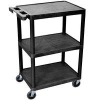 Luxor STC222-B Black 3 Flat Shelf Utility Cart - 24 inch x 18 inch