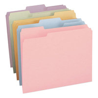 Smead 11953 Letter Size File Folder - Standard Height with 1/3 Cut Assorted Tab, Assorted Colors - 100/Box