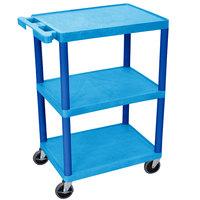 Luxor BUSTC222BU Blue 3 Flat Shelf Utility Cart - 24 inch x 18 inch