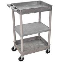 Luxor STC121-G Gray 2 Tub and 1 Flat Shelf Utility Cart - 24 inch x 18 inch