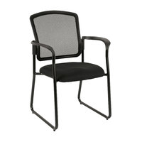 Eurotech 7055SB-BLACK Dakota2 Series Black Mesh Office Side Chair with Arm Rests