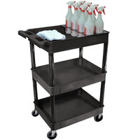 Luxor STC111H-B Black 3 Tub Shelf Utility Cart with Bottle Holder - 24 inch x 18 inch