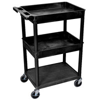 Luxor STC112-B Black 2 Tub and 1 Bottom Flat Shelf Utility Cart - 24 inch x 18 inch