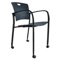 Eurotech STAQCASNVY Staq Series Navy Plastic Chair with Casters