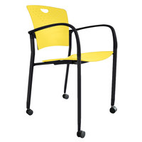 Eurotech STAQCASYEL Staq Series Yellow Plastic Chair with Casters