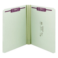 Smead 14910 SafeSHIELD Letter Size Fastener Folder with 2 Fasteners - Straight Cut Tab, Gray/Green - 25/Box