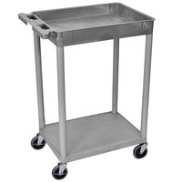 Luxor STC12-G Gray 1 Tub and 1 Flat Shelf Utility Cart - 24 inch x 18 inch