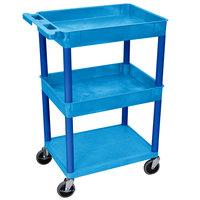 Luxor BUSTC112BU Blue 2 Tub and 1 Bottom Flat Shelf Utility Cart - 24 inch x 18 inch