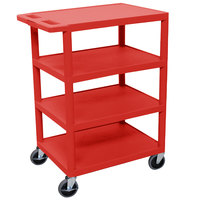 Luxor BC45-RD Red 4 Shelf Utility Cart - 18 inch x 24 inch x 39 inch