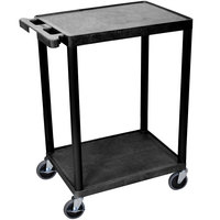 Luxor STC22-B Black 2 Flat Shelf Utility Cart - 24 inch x 18 inch