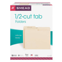 Smead 10320 Letter Size File Folder - Standard Height with 1/2 Cut Assorted Tab, Manila - 100/Box