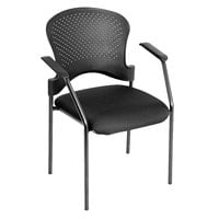 Eurotech FS9077 Breeze Series Black Fabric and Plastic Office Side Chair with Black Frame