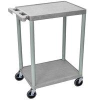 Luxor STC22-G Gray 2 Flat Shelf Utility Cart - 24 inch x 18 inch