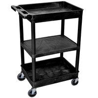 Luxor STC121-B Black 2 Tub and 1 Flat Shelf Utility Cart - 24 inch x 18 inch