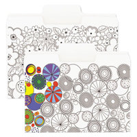 Smead 11647 SuperTab Coloring Letter Size File Folder - Standard Height with 1/3 Cut Assorted Tab, White - 6/Pack