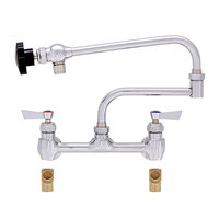 Fisher 56146 Backsplash Mounted Pot Filler with 8 inch Centers, 24 inch Double-Jointed Control Spout, 5 GPM Aerator, Lever Handles, and Elbows
