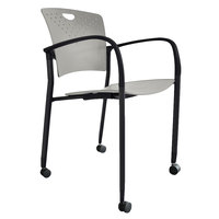 Eurotech STAQCASGRY Staq Series Grey Plastic Chair with Casters