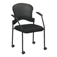Eurotech FS9070 Breeze Series Black Fabric and Plastic Office Side Chair with Black Frame and Casters