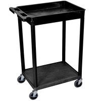 Luxor STC12-B Black 1 Tub and 1 Flat Shelf Utility Cart - 24 inch x 18 inch