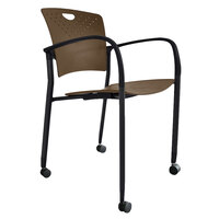 Eurotech STAQCASCOF Staq Series Coffee Plastic Chair with Casters
