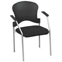 Eurotech FS8277 Breeze Series Black Fabric and Plastic Office Side Chair with Grey Frame