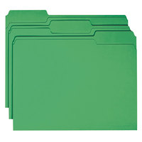 Smead 12134 Letter Size File Folder - Standard Height with Reinforced 1/3 Cut Assorted Tab, Green - 100/Box