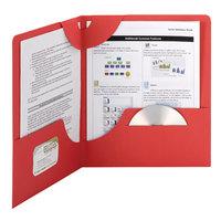 Smead 87980 Lockit Textured Letter Size 2-Pocket Paper Pocket Folder, Red - 25/Box